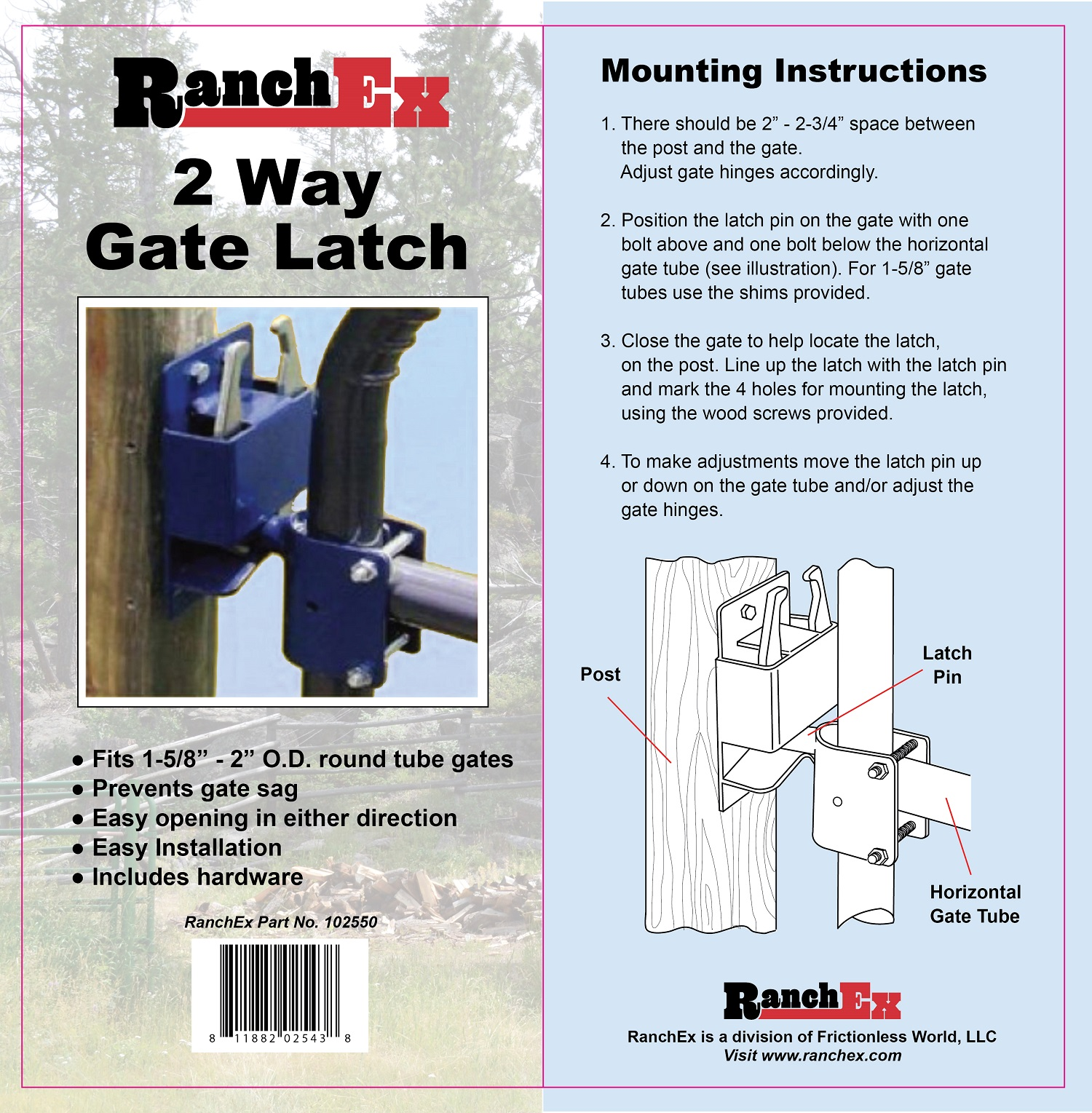 "RanchEx Tube Gate Hinge Clamp 5//8/"" x 2/"""
